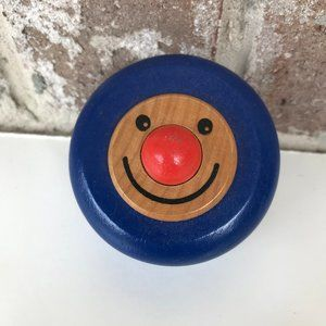 Vintage Wooden YoYo Clown Face Blue Never Used